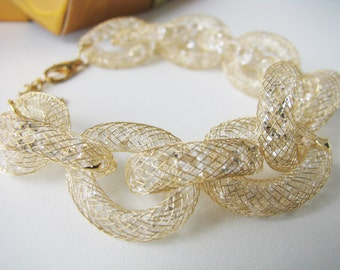Goldtone mesh chain bracelet, Bridal bracelet,  crystal bracelet, bridal jewelry, wedding accessories, bridesmaid bracelet, crystal wedding