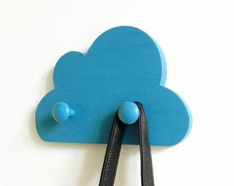 Cloud Wall Hook, Teal Wooden Cloud Coatrack, Kids Wall Hook, Kids Coat rack, Cloud Coat Rack