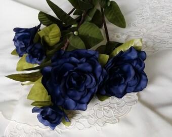 Navy blue silk flower stems set of 2 DIY Bridal bouquet crowns craft supplies hair accessories Wedding floral supply deco Centerpieces