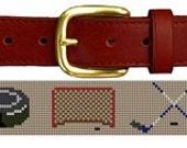 Hockey Gear Needlepoint Belt Canvas