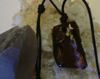 Australian Boulder Fire Opal with Bright Lavender to Purple Fire 568