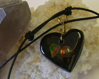 Eternal Love Heart Necklace with Nice Red, Green and Yellow Ammolite from Utah Deposit Wire Wrapped in Argentium Sterling Silver Wire 387