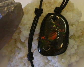 Bright Red, Green and Gold Color Fire Gem Ammolite From Utah Deposit, Fishing Fly Mens Cord Necklace 588