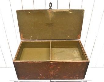 Vintage Army Trunk   World War II Wood Metal Hinge Removable Shelf Foot  Locker   1940s