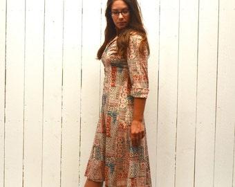 Boho Hippie Dress - 1960s Zip Up Midi Length Dress - Three Quarter Sleeve - Vintage Dress - Small S / Medium M
