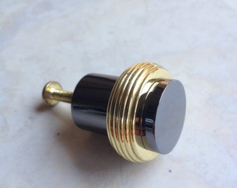Black Nickel Knob / Gold Plated Heavy Round Cylinder Vintage Pull 10 Available - #5175
