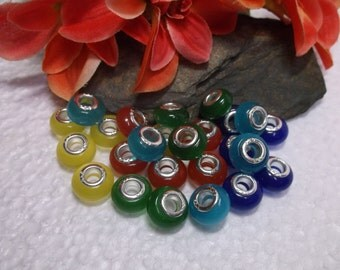 25 Smooth Lampwork Beads In 5 Colors