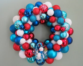 CHRISTMAS wreath-Jolly SNOWMAN Red White Blue TURQUOISE  Ornament Wreath