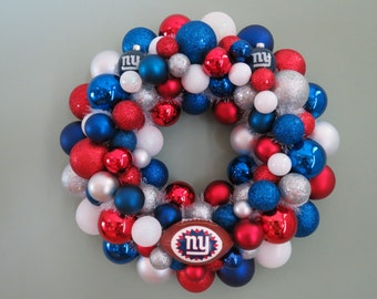 NEW YORK GIANTS  Team Ornament Wreath Football Wreath