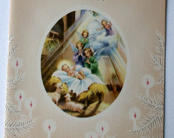1940s vintage Christmas card, unused, with envelope