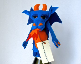 Dragon Bottle Topper, Felt Bottle Cozy, Wine Topper, Hand Stitched Blue Dragon Hostess Gift, Dragon Puppet, Good Spirits™