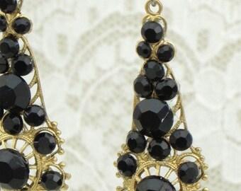 BLACK Austrian CRYSTAL Rhinestone EARRINGs on Brass Filigrees - GOTHIC Romance