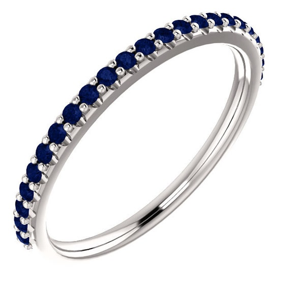 Half Eternity Band Bands: Stackable Half Eternity Blue Sapphire Wedding Band Ring In