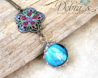 Handpainted Brass Filigree with Blue Morpho Butterfly, Real Butterfly