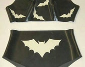 Latex Lingerie, Latex Halloween Bats Bralet Knickers