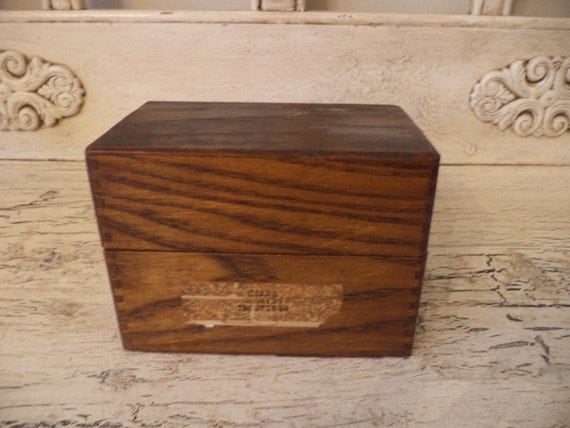 Rustic recipe box small hinged wooden box index card box - Small rustic wooden boxes ...