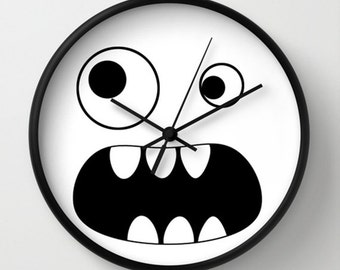 Monster Black and White Retro Wall clock - Choose Your Color Monster Wall Clock Kids Room - Original Design - Home decor by Adidit