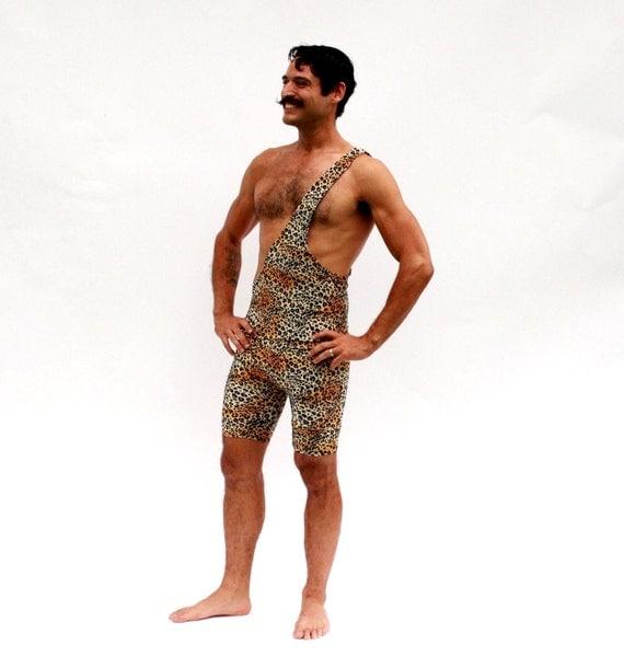 Strongman Costume Tarzan Wrestling Singlet Men's Animal Print