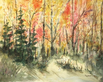 Watercolor Landscape Painting archival print, fall scenic nature painting, country woodland autumn landscape, watercolor art.