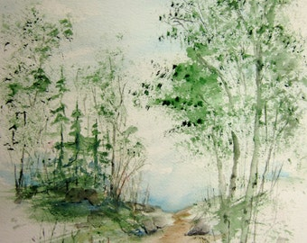 Woodland Walk, watercolor print, landscape painting, watercolor landscape, watercolor art, watercolor print, woodland painting, nature art.