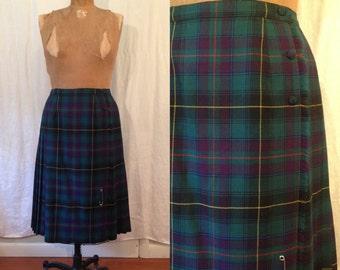 Green & Purple Kilt Skirt w. Pin / 80's / medium - large / wool plaid