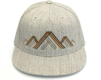 Men's Baseball Cap - Mountain Range Illustration - Men's/Unisex Embroidered Cap - Fitted and Snapback Options Available