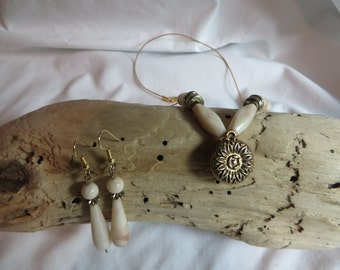 """26"""" Ivory and Gold Pendant Necklace on Tan Cording with Matching Earrings, necklace, earrings, matching, ivory, tan, cord"""