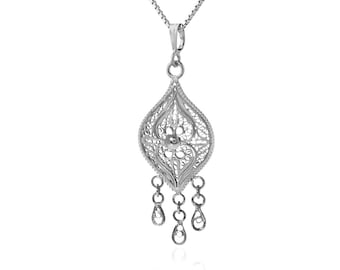 ETHNIC NECKLACE Sterling Silver 925 Indian Necklace Pendant, Boho-chic Hippie Jewelry