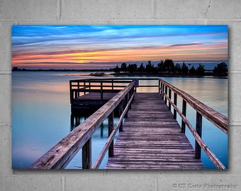 Bay Sunset, Large Wall Decor, Vivid Metal Print, Serene Photography by CT Costa, Home or Office, Blue decor, Statement Piece, Ready to Hang