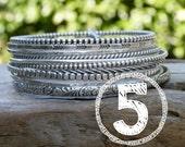 FIVE Sterling Bangle Bracelets. Mix and Match Styles. 5 Made to Order bracelets in Your Size.  Custom Size Bracelet Set.