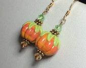 Reserved Handmade Lampwork Glass Jewelry Beaded Earrings - Halloween pumpkins