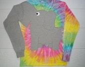 Elephant shirt, elephant trunk sleeve tee shirt,  elephant t-shirt,  Tie dye shirt, Tye Dye, UNISEX adult large