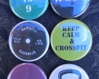 6 Crossfit Xfit - 1 inch Pinback Buttons