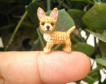 Fawn White Chihuahua Dog - Amigurumi Crochet Tiny Dog Stuff Animal - Made to Order