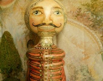 Hand Painted Nutcracker-like Wood Turning Original OOAK Christmas Nutcracker Art Doll Folk Art Turning Collectible Christmas Art Doll