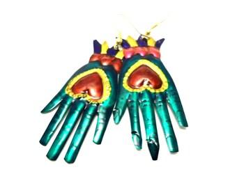 Shiva hands tin earrings