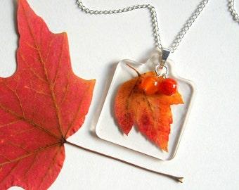 Red Maple Leaf - Real Autumn Leaf Woodland Necklace - Pressed leaf, maple, orange quartzite, fire agate, Autumn, forest, minimal, ooak, gift