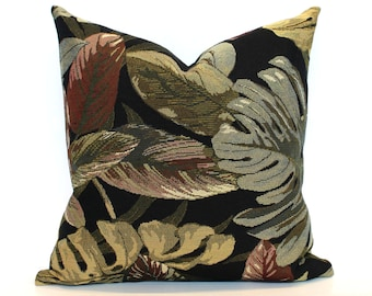 Black Pillow Cover Green Pillow Tropical Leaf Tapestry Upholstery Decorative Throw Pillow Cover Sham 26x26 24x24 22x22 20x20 18x18 16x16