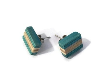 Recycled Skateboard Teal and Maple Wood Stud Earrings