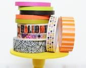 Halloween Washi Tape Set of 9 rolls Skinny Halloween Solids / Halloween Subway Art / Spiderweb / Halloween Dots / Orange Stripes