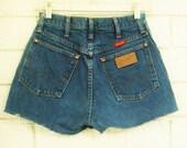 "80's WRANGLER DENIM CUTOFFS vintage jean short shorts high waist cheeky denim 26"" S sm"
