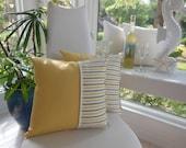 Yellow Pillow - Gold Coral Pillow - Kaufmann Coral Splendor Stripe Citron - Reversible Pillow - Yellow Striped Pillow - Gold, Taupe, Citron