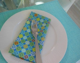 Blue Cloth Napkins - Set of Four -  Flower and Circle Napkins by Pillowscape Designs - Blue, Aqua, Lime Green, Yellow, Red, Pink