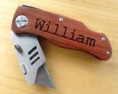 One Personalized Utility Knife, Box Knife - Groomsmen Wedding Gift Engraved Pocket Knife - Christmas Gift, Birthday Gift, Fathers Day Gift