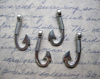 4 Fishing Hook Charms in Silver Tone - C2215