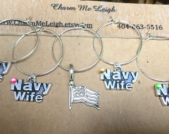 Navy wife wine glass charms for the wine lover in your life.... customize