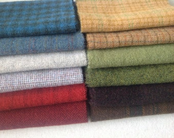 Wool Fabric for Rug Hooking and Applique, Colorful Textures, 12) Fat 1/16ths, J966