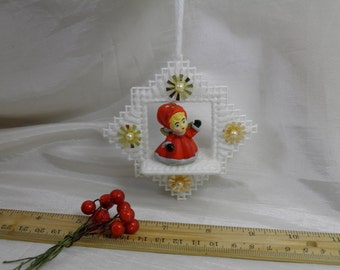 Vintage Little Girl Christmas Ornament Tree Decoration - Plastic Grid and Sequins - Ceramic Little Girl - Vintage Handmade