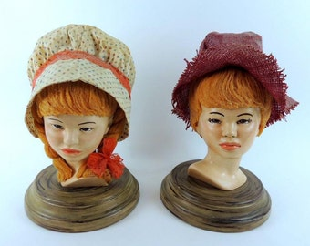 Vintage Handmade Ceramic Girl Boy Heads Folk Art Figures Large Busts Country Decor