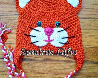 Crochet cat hat with earflaps and tassels